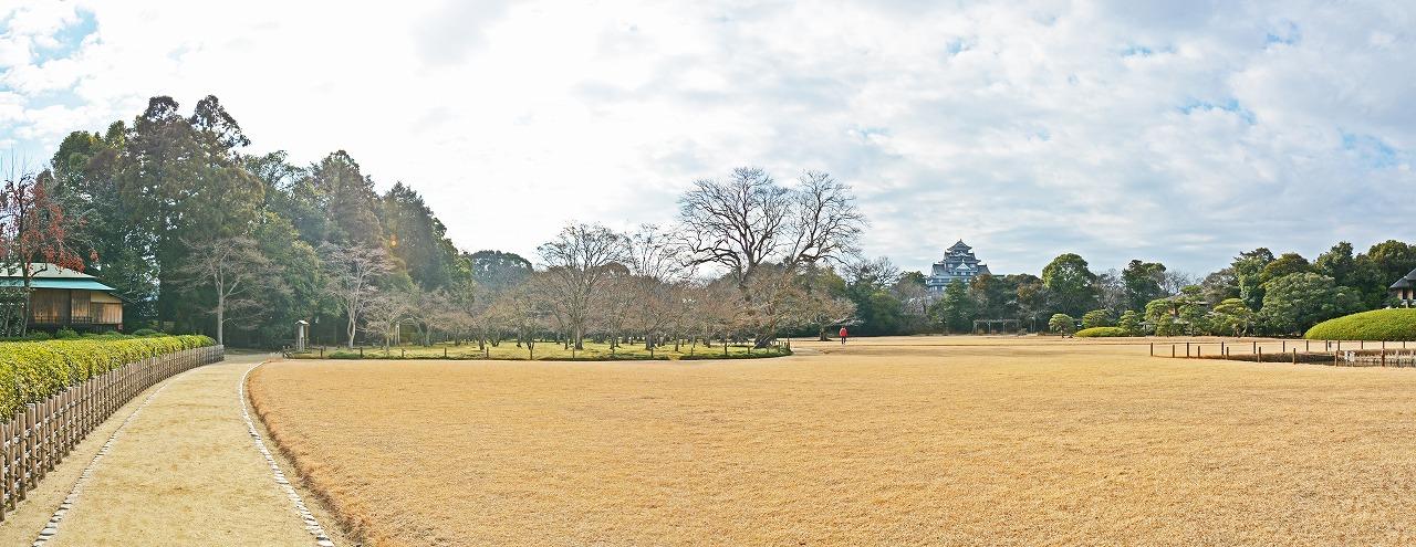 20190118 後楽園今日の茶畑前から眺めた園内ワイド風景 (1)
