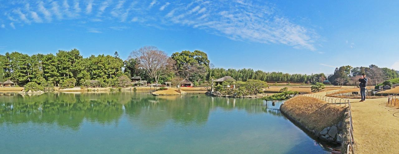 20190119 後楽園今日の土橋付近から眺めた園内ワイド風景 (1)