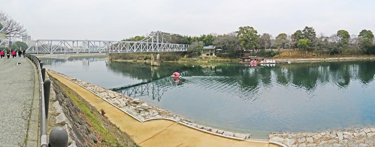 20190207 烏城公園今日の水辺の回廊月見橋付近のワイド風景 (1)