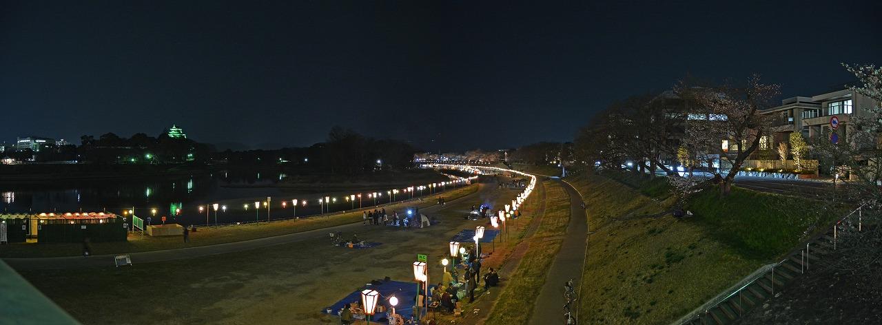 20190329 岡山さくらカーニバル会場昨日の相生橋上から撮影したワイド夜の風景 (1)