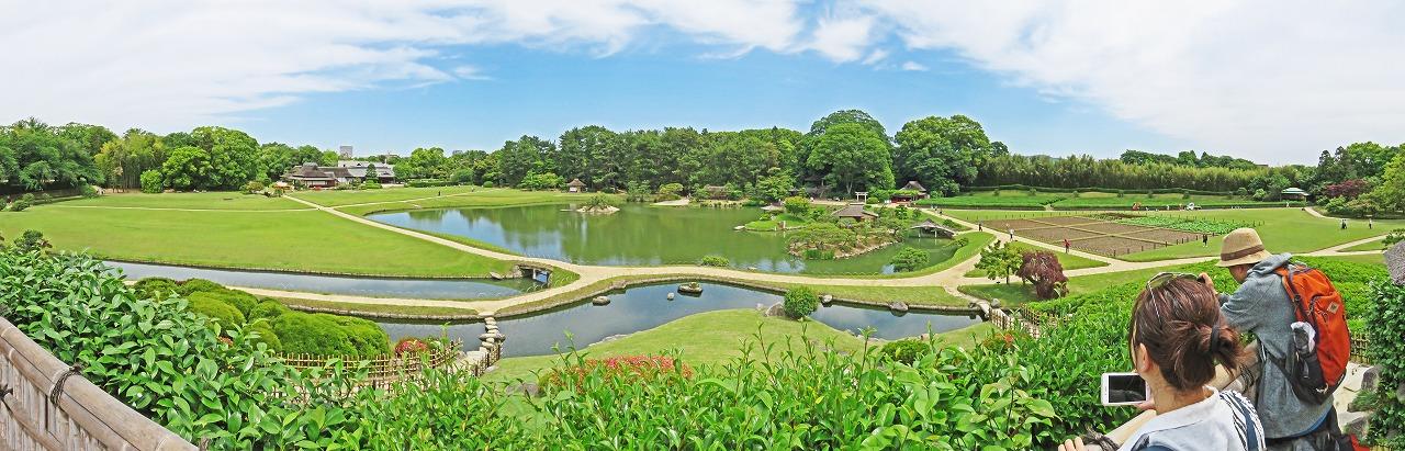 20190529 後楽園今日の唯心山頂上から眺めた園内ワイド風景 (1)