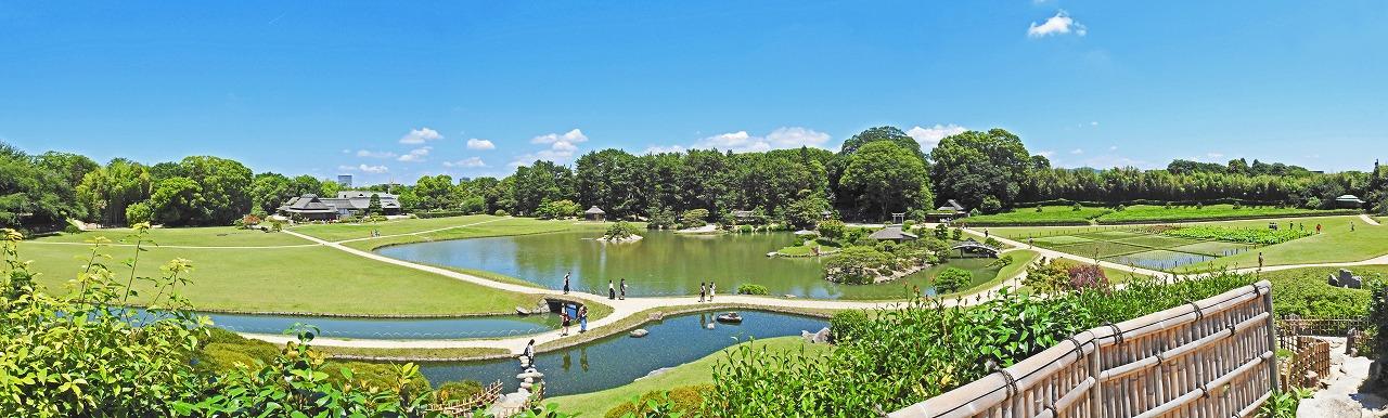 20190625 後楽園今日の唯心山頂上から眺めた園内ワイド風景 (1)