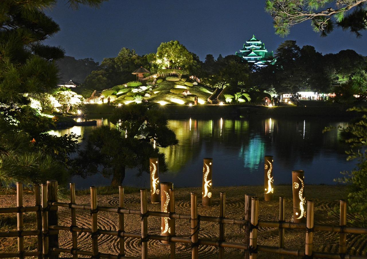 20190818 後楽園夏の幻想庭園観光定番位置から眺めた園内風景 (1)