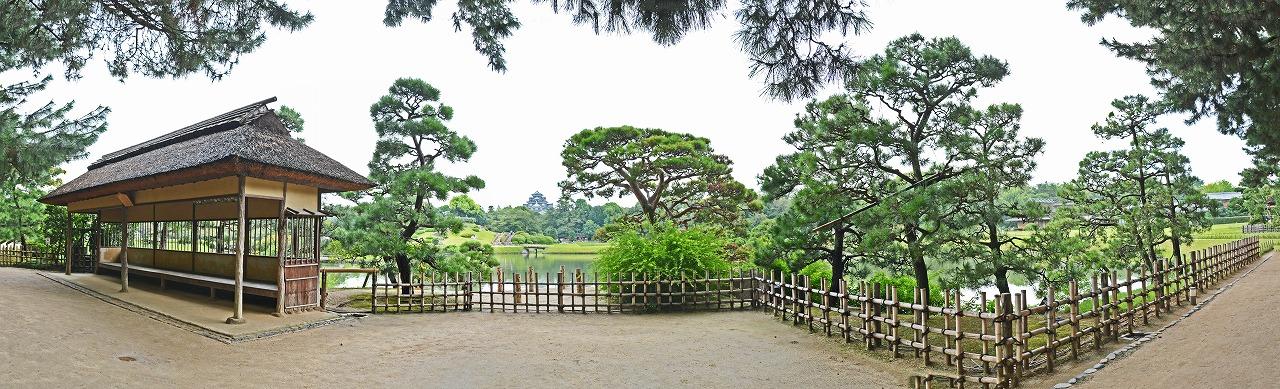 20190830 後楽園今日の午後の園内観光定番位置の松林側から眺めた園内ワイド風景 (1)