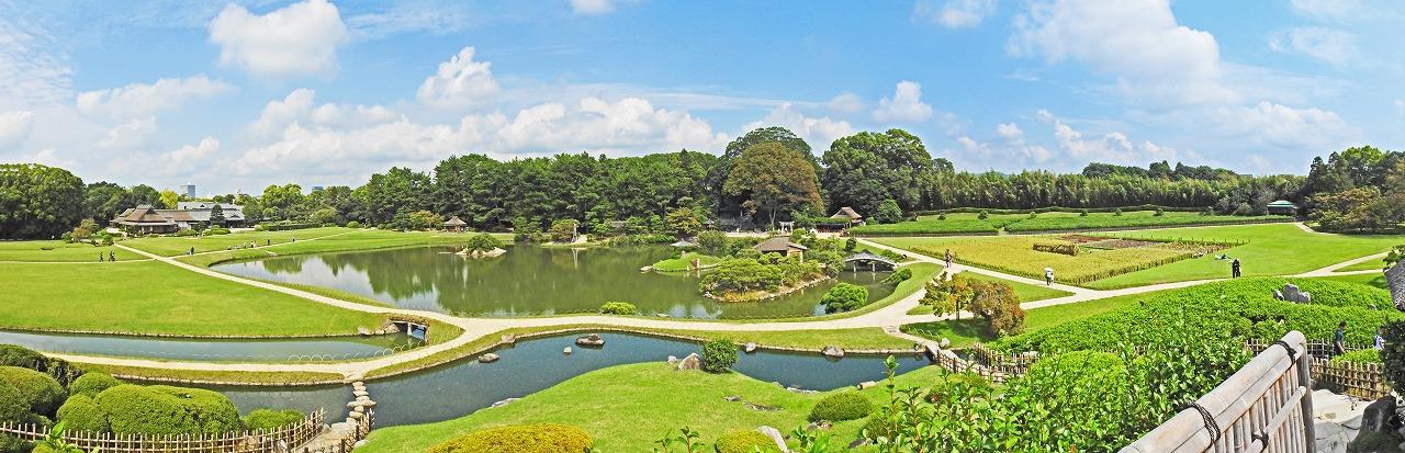 20191001 後楽園今日の唯心山頂上から眺めた三枚構成の園内ワイド風景 (1)