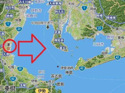蜃気楼の一種「浮島現象」三重県・津市より 2018-12-9 (6)