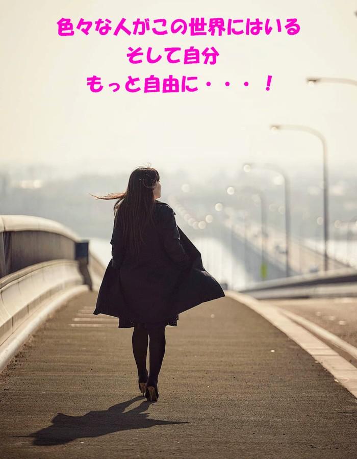 橋を渡る女性1