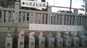 大石神社 十二支えと石像