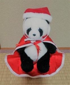 100均セリア サンタコスチュームを違うパンダに着せた