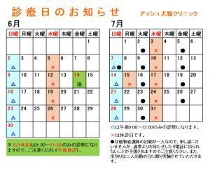 診療日カレンダー(2019年6-7月)
