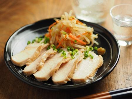 鶏むね肉のぽん酢蒸し、もや010