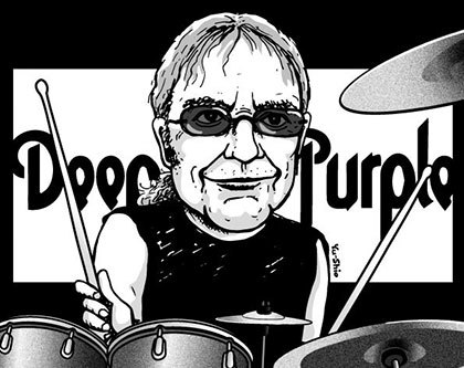 Ian Paice Deep Purple caricature likeness