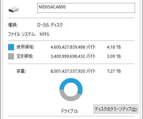 【MD05ACA800】使用状況