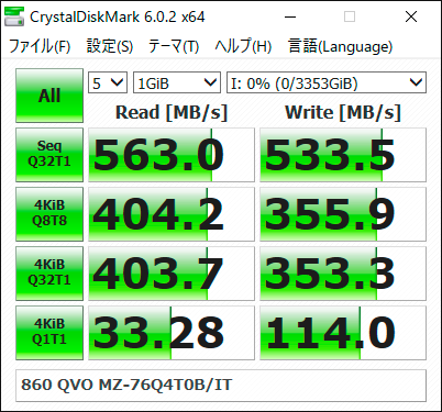 【CrystalDiskMark 6.0.2】860 QVO MZ-76Q4T0B/IT