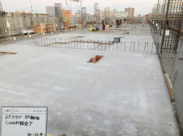201/12/19 階躯体コンクリート打設完了