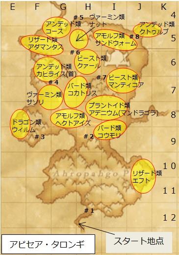 アビセア・タロンギのモンスター配置地図