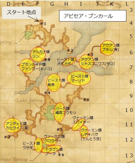 アビセア・ブンカールのモンスター配置地図