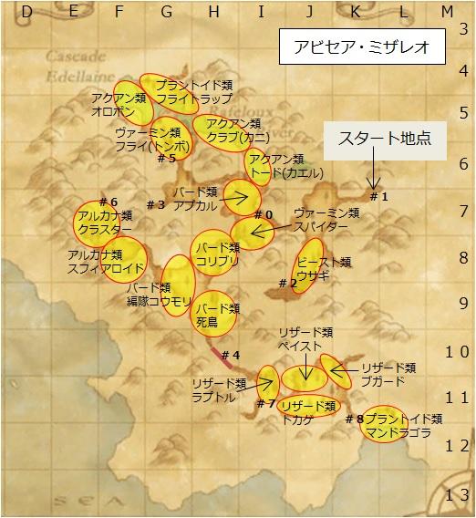 アビセア・ミザレオのモンスター配置地図