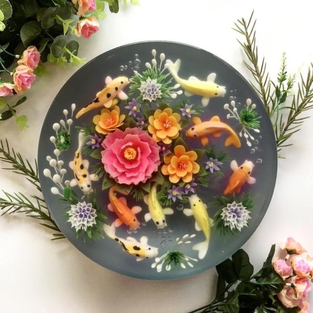 本物のお花を閉じ込めたようなケーキの画像(2枚目)
