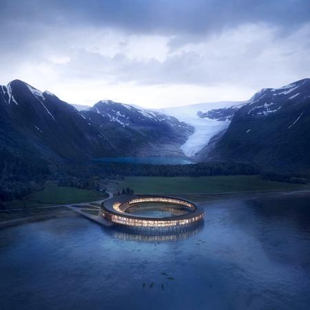 湖の畔のリングのようなホテルの画像(4枚目)