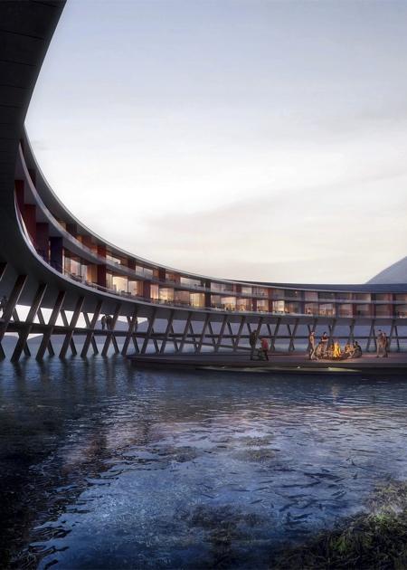湖の畔のリングのようなホテルの画像(5枚目)