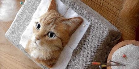 立体的な3Dの猫の肖像の画像(1枚目)