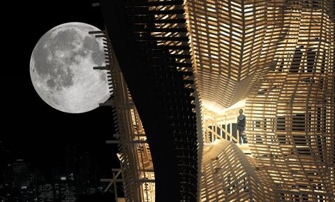 木の骨組みだけでできた巨大な建物02