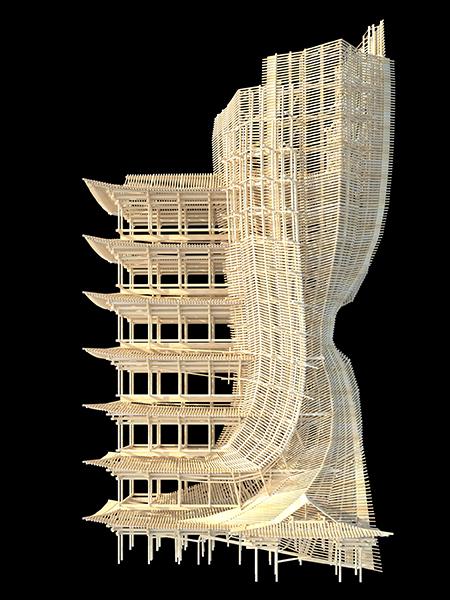 木の骨組みだけでできた巨大な建物03