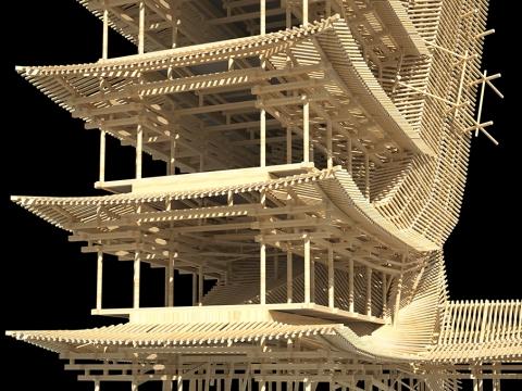 木の骨組みだけでできた巨大な建物04