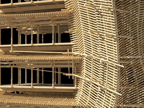 木の骨組みだけでできた巨大な建物05