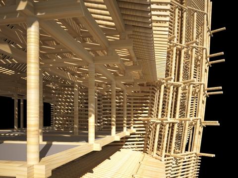 木の骨組みだけでできた巨大な建物06