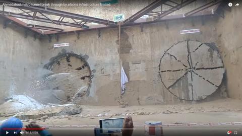 シールドマシーンが同時にトンネルを開通03