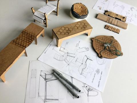 柔らかい木製のベンチ07