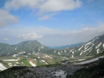 幾つかの雪渓を渡って190726