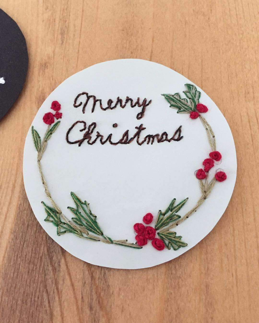紙刺繍で作ったクリスマスオーナメント
