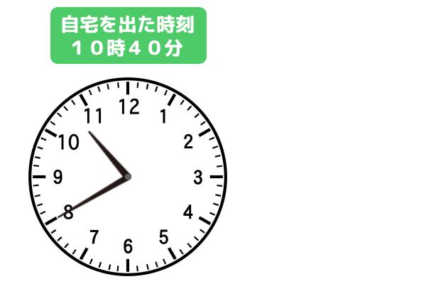 「Aさんが自宅を出た時刻 10時40分」示しているアナログ時計