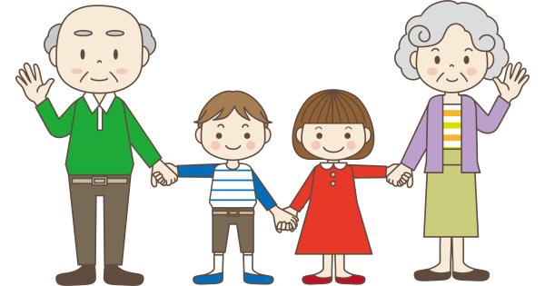 手をつないでいるおじいちゃん、孫、おばあちゃん
