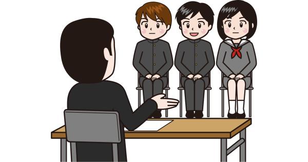 採用面接を受ける高校生たち