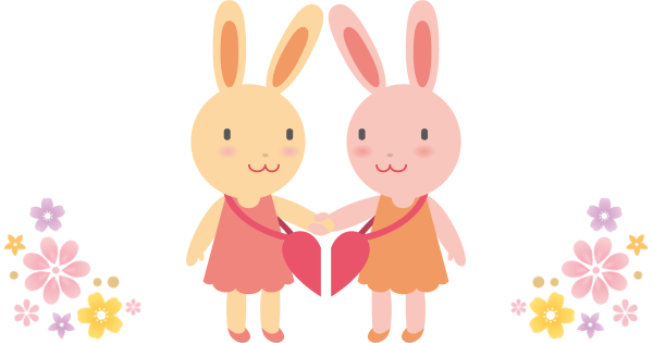 手をつないだいる仲良しのウサギ