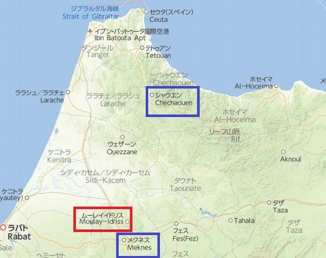メクネスからシャウエン地図2