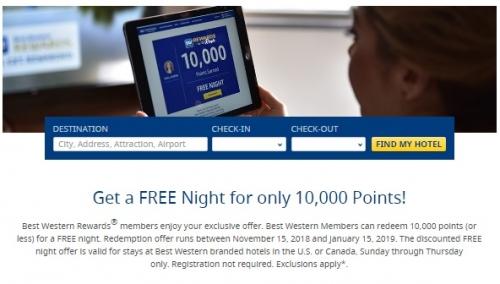 ベストウエスタンリワード アメリカとカナダを対象に1泊10,000ポイントアワードキャンペーン