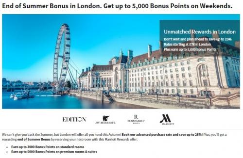 マリオットリワード ロンドンでの滞在につき割引と最大5,000ボーナスポイントがもらえます。