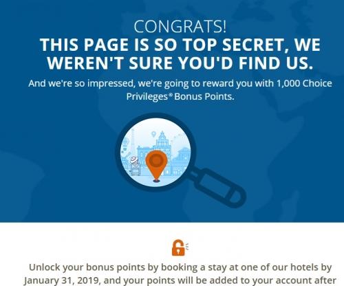 チョイスホテルズ(Choice Privileges)で宿泊すると1000ボーナスポイント