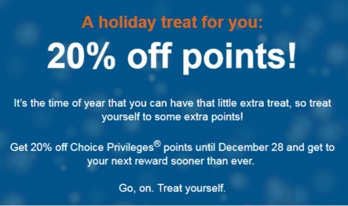 チョイスホテルズ(Choice Privileges)ポイント購入が20%OFFになるキャンペーン