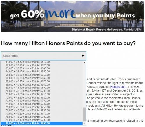ヒルトンオナーズは2019年12月31日までの年間を通してポイント購入で60%ボーナスポイント