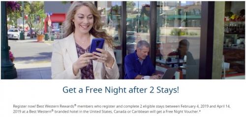 1ベストウエスタンで2回の滞在後に無料宿泊券がもらえるキャンペーン