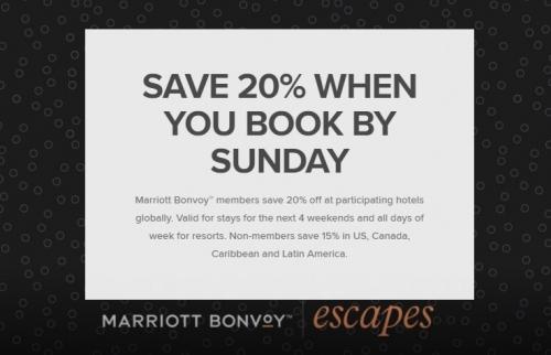 1マリオット Bonvoy エスケープ 特定のホテルが20%OFF