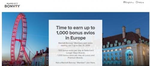 1マリオットBonvoy ヨーロッパでの滞在1回あたりブリティッシュエアウェイズエグゼクティブクラブの最大1,000ボーナスAVIOS