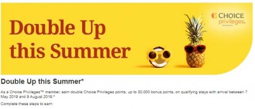1Choice Privilegesダブルポイントキャンペーン 2019年5月7日 - 8月9日が対象