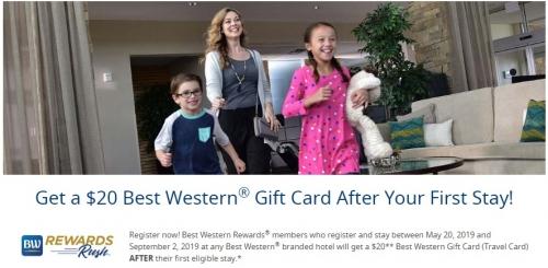 1ベストウエスタンリワードカード キャンペーン期間の最初宿泊で$ 20のギフトカードがもらえます。